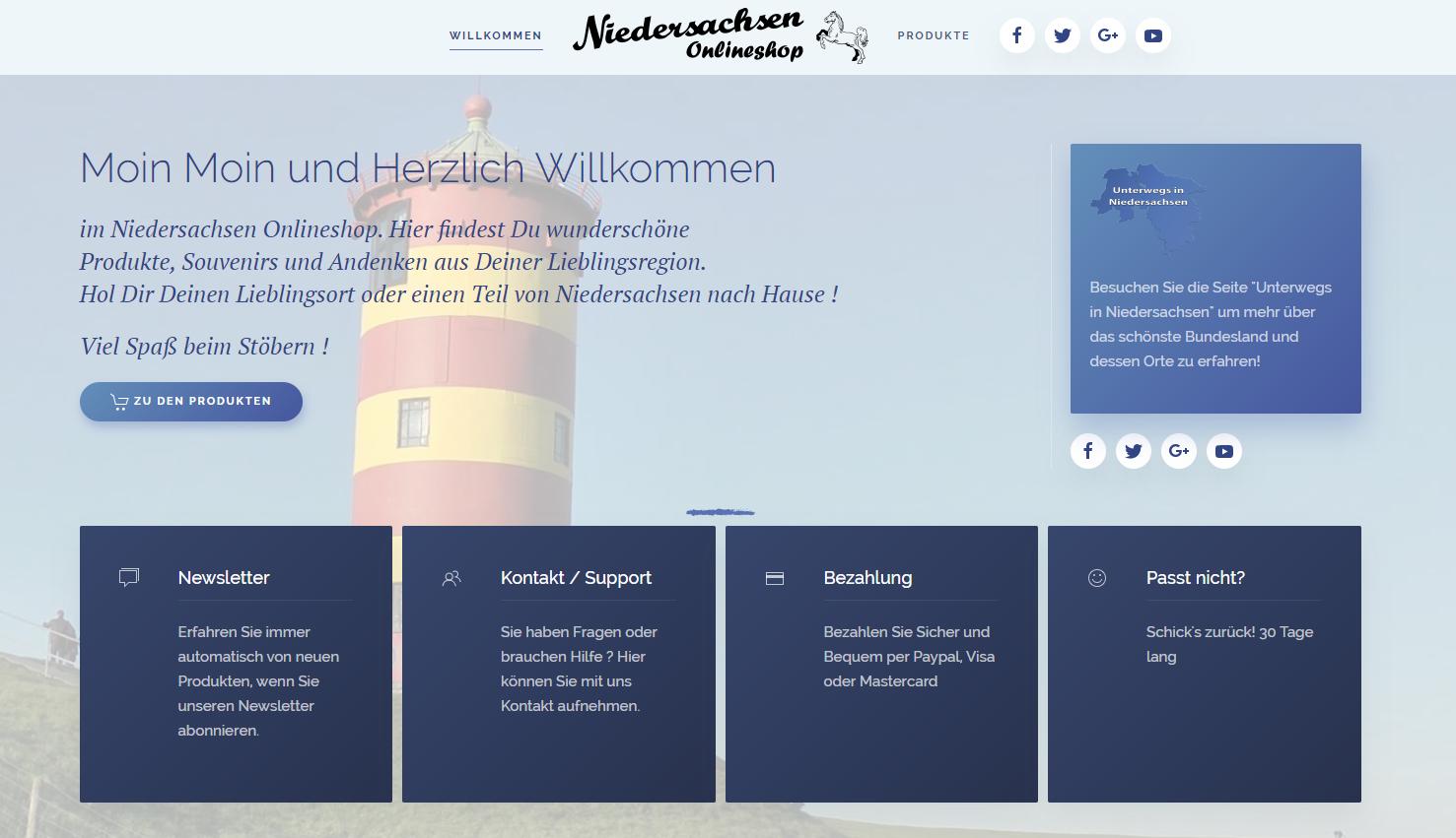Niedersachsen Onlineshop im neuen Gewandt